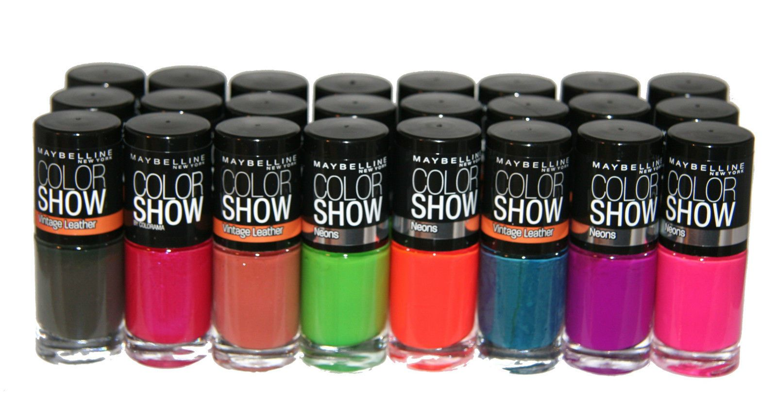 24 x Maybelline Color Show Nail Polish RRP 96 Neons & Vintage ...